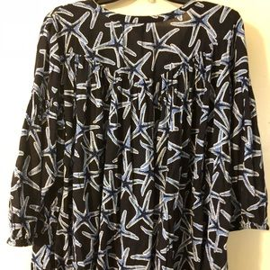 Crown & Ivy starfish print boho blouse NWOT 1X